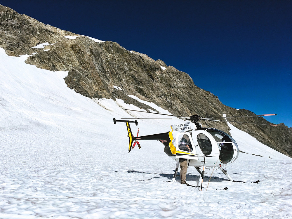 Helicopter on top of the Franz Josef or Fox glacier