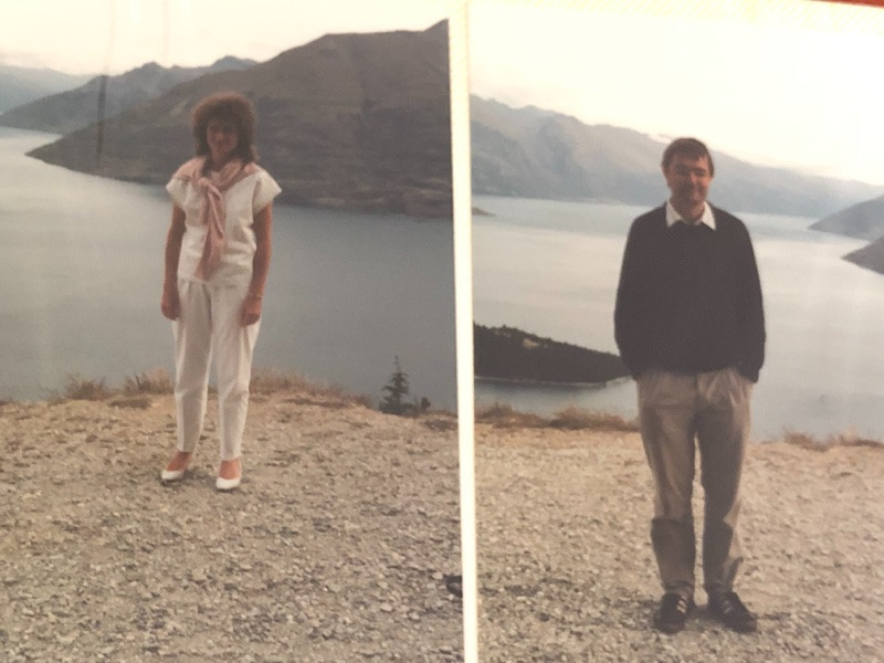 Couple on the shores of Lake Wakatipu, Queenstown, in 1990