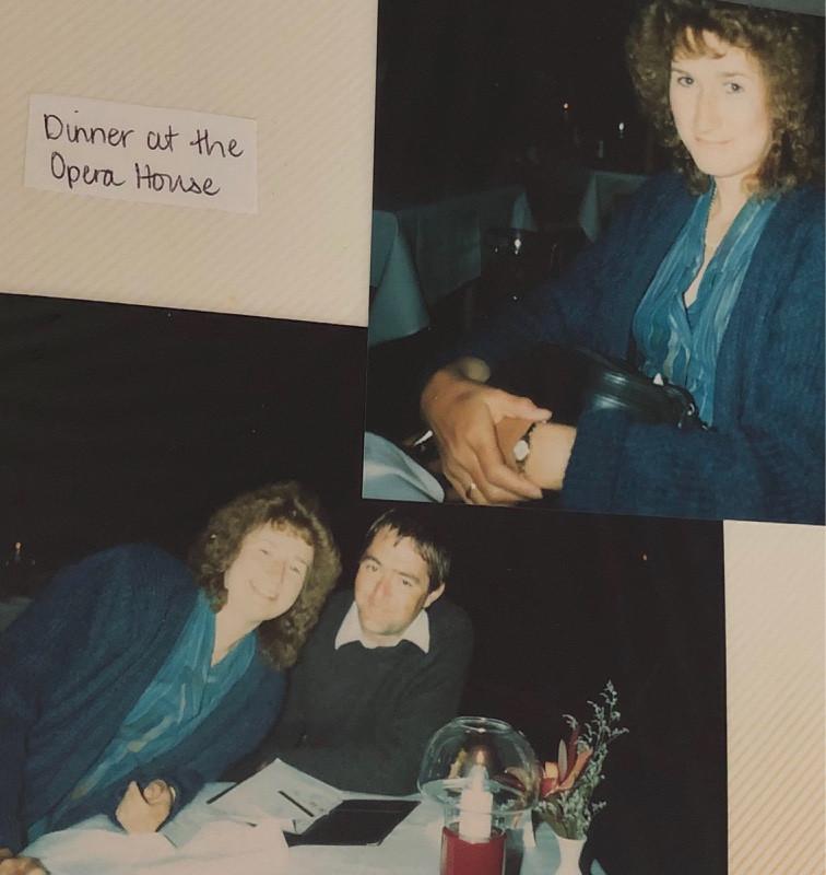 Couple having dinner at Sydney Opera House in 1990