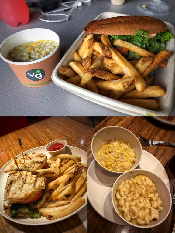 Three dishes from Veggie Grill