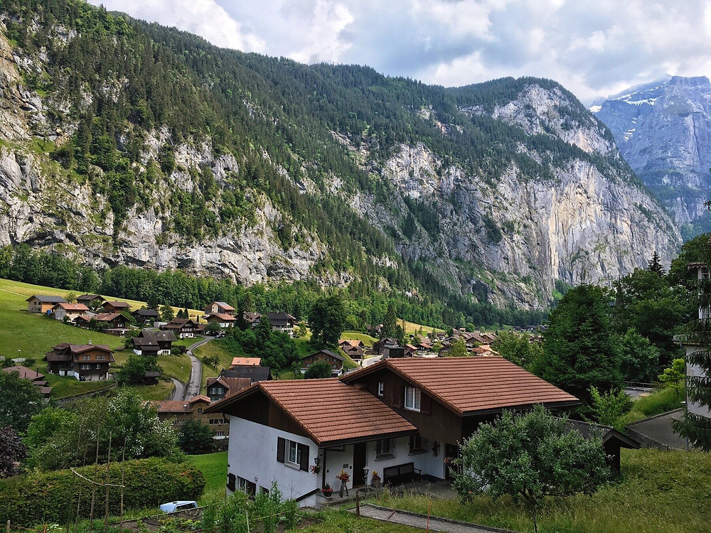 View over the houses in Lauterbrunnen