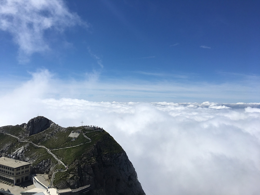 The summit of Mount Pilatus surrounded by clouds