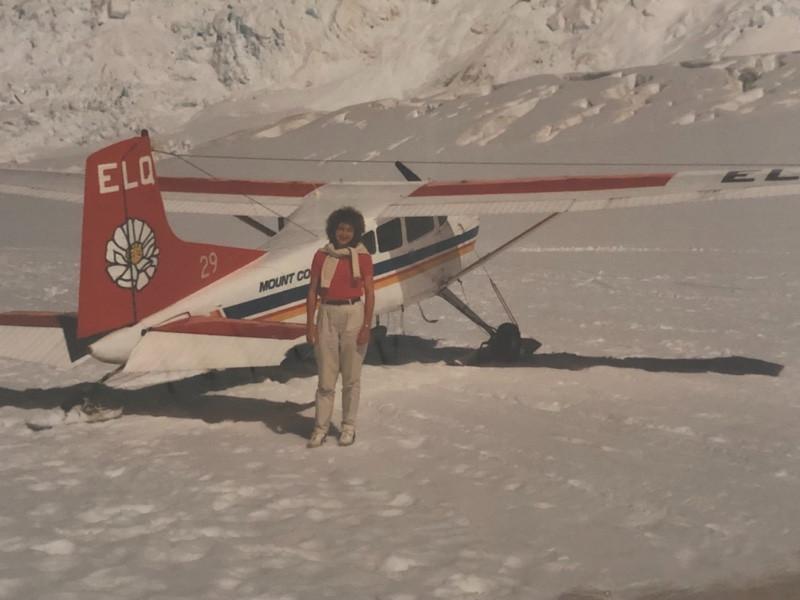 Tourist stands on Tasman Glacier in 1990