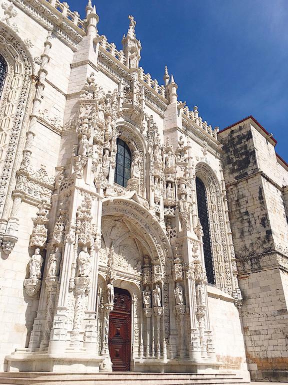 The exterior of Jeronimos Monastery, Lisbon