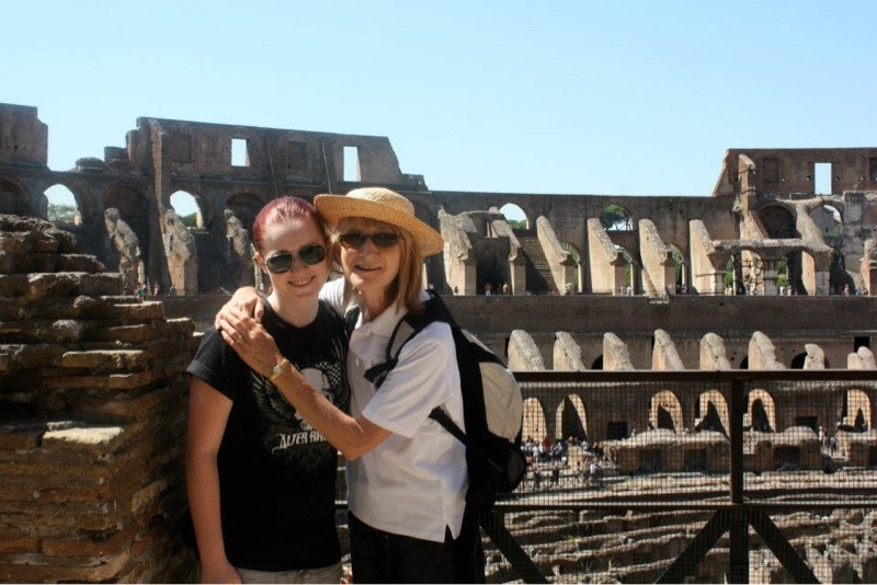 Mother and daughter in Colosseum, Rome