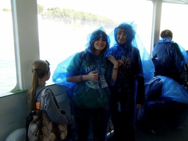 Family on board Maid of the Mist at Niagara Falls