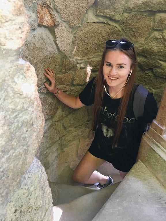 Female travel blogger at the Quinta da Regaleira, Sintra