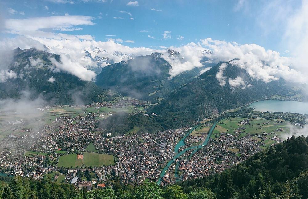 Cloudy view from Harder Kulm in Interlaken