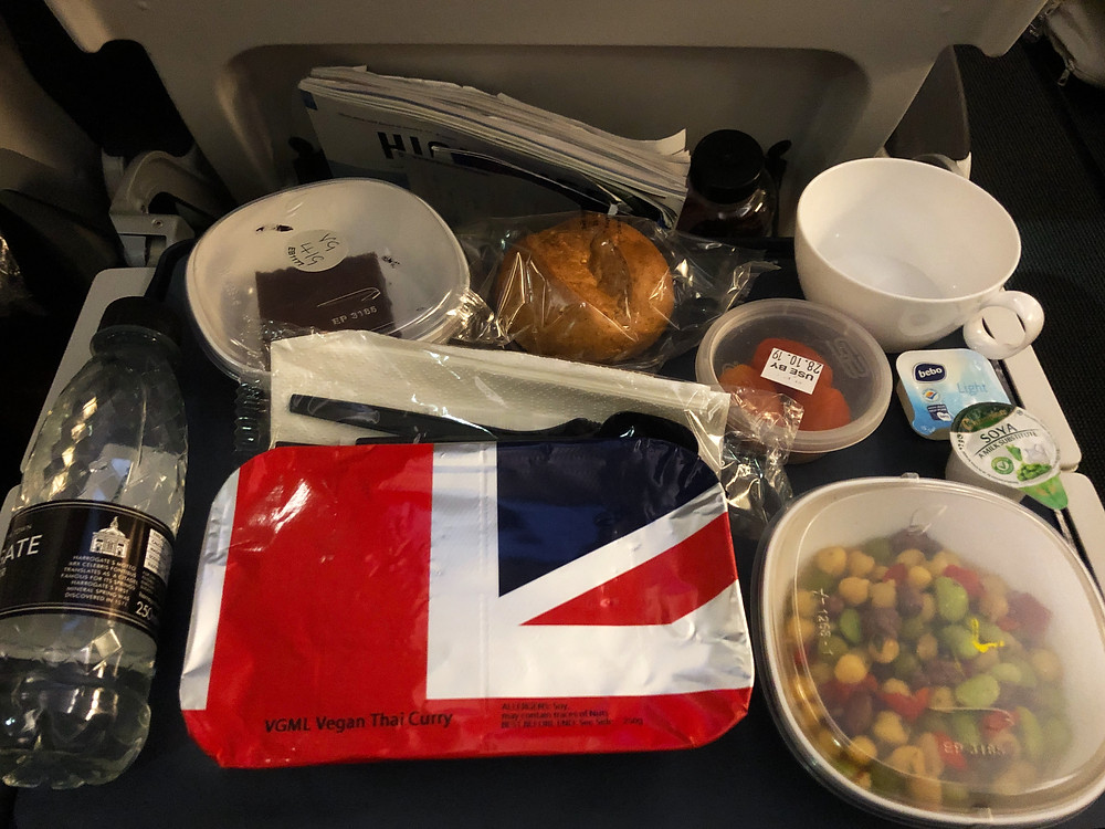 Meal provided onboard a British Airways flight