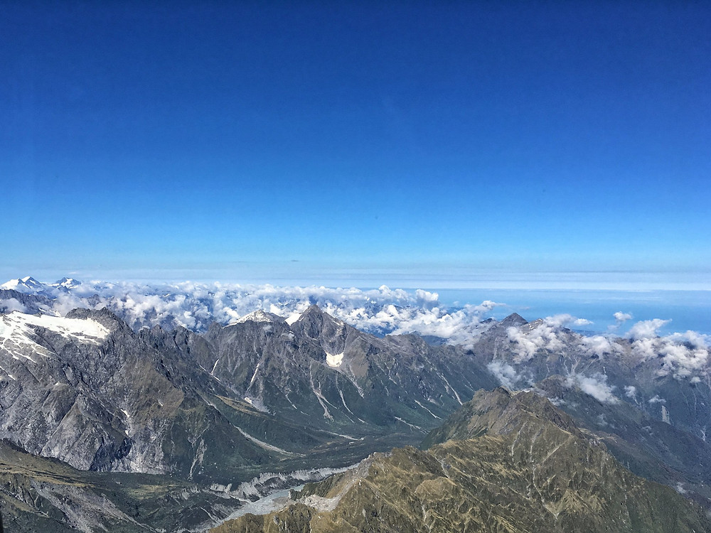 Aerial views over Mount Cook National Park from a helicopter