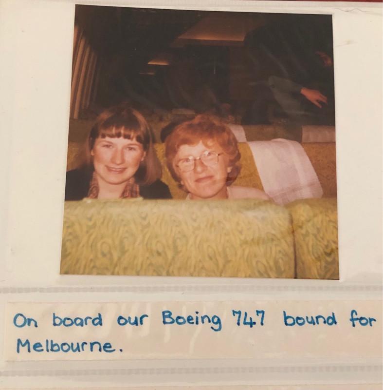 Two women on plane in 1980
