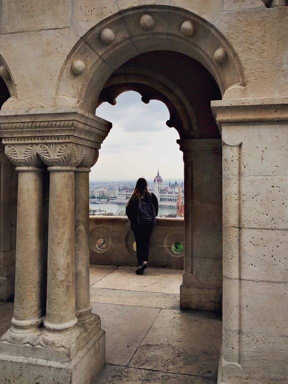 Female travel blogger at Fisherman's Bastion, Budapest