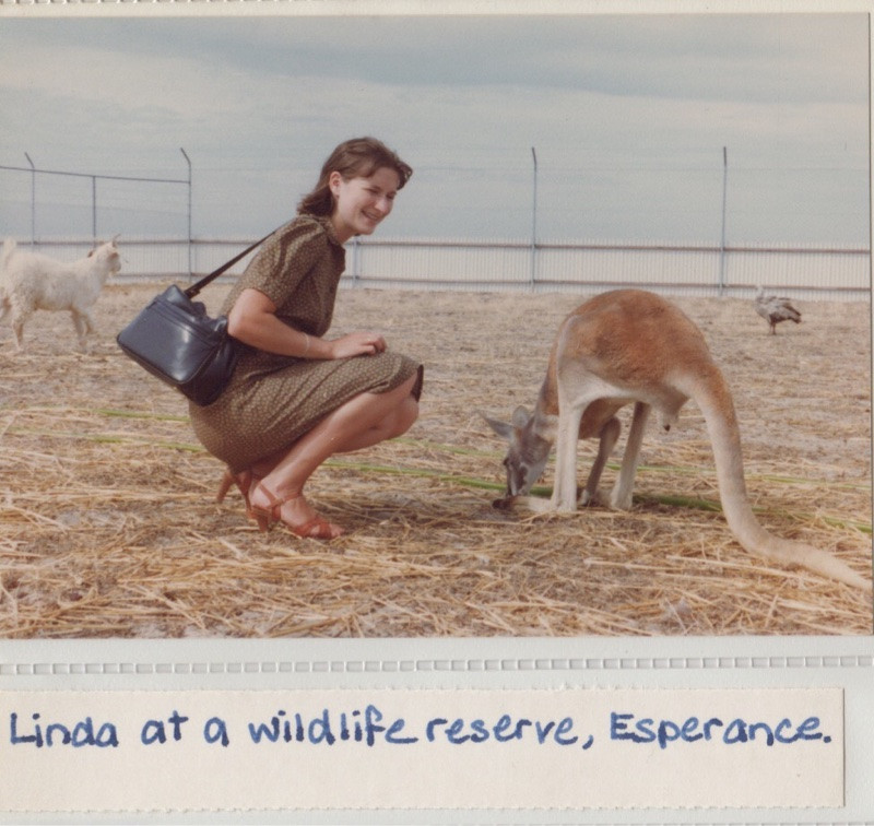 Lady and kangaroo in the early eighties