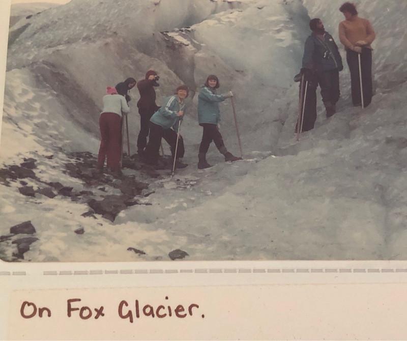 Hikers on Fox Glacier in 1980