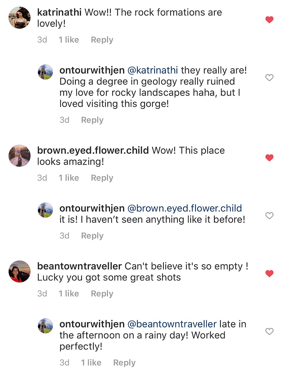Screenshot of instagram comments section