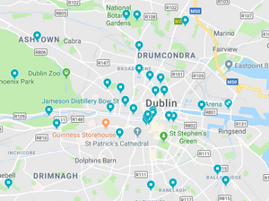 Google maps screenshot of Dublin