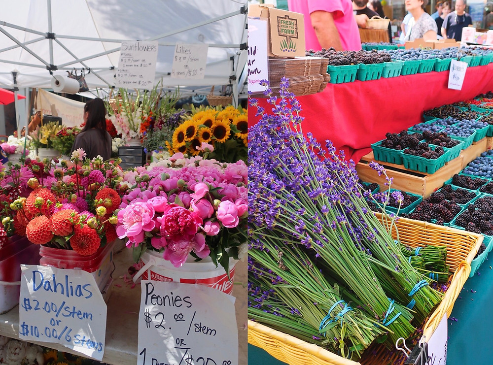 Flowers and fruit stalls at Ballard Farmers Market