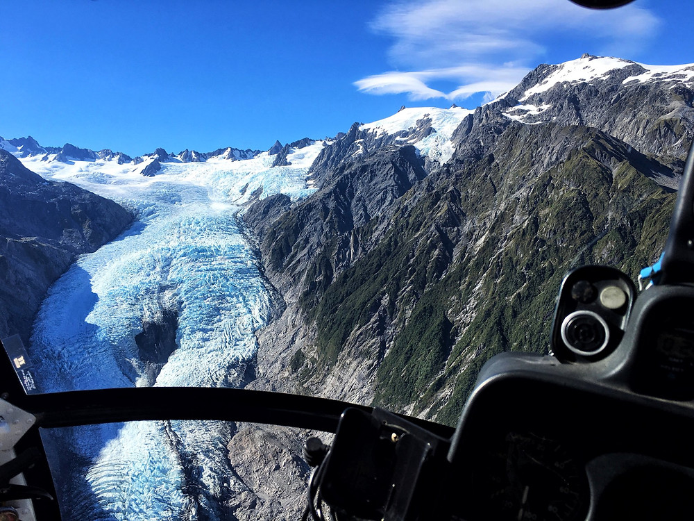 Franz Josef or Fox glacier viewed from above via helicopter