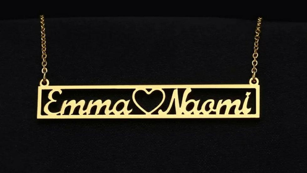 Bar Heart 2 Name Necklace