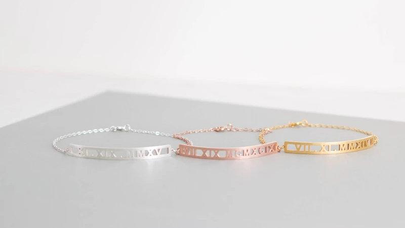 Custom Roman Numeral Bracelet