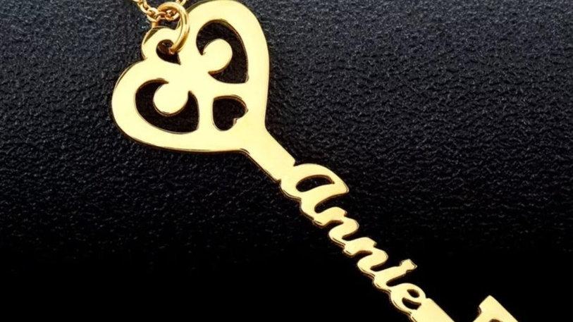 Key to My Heart Custom Name Pendant
