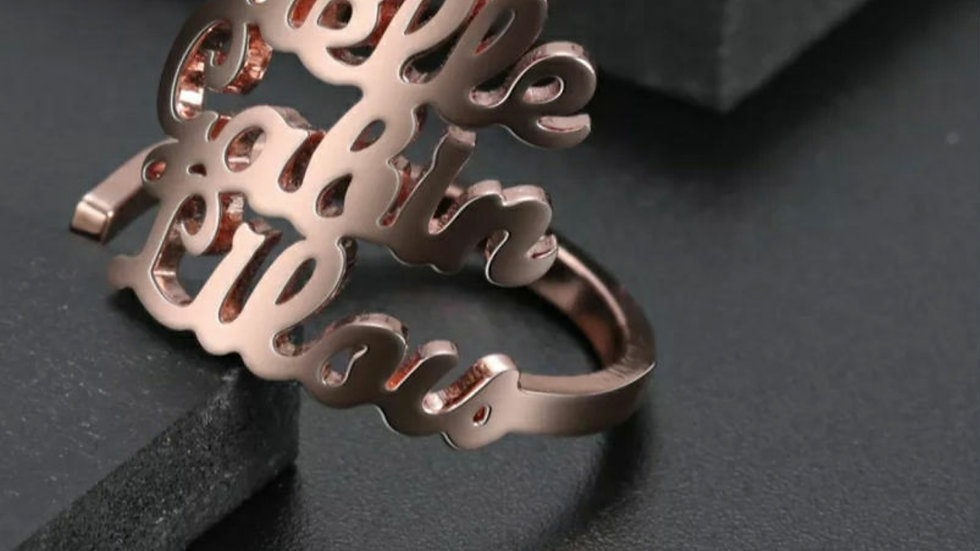 3 Names Custom Ring