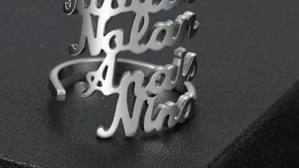 4 Names Custom Ring