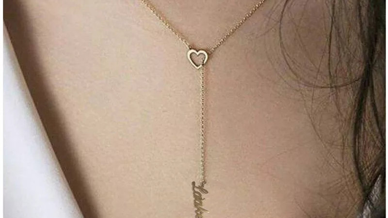 Heart Drop Name Necklace