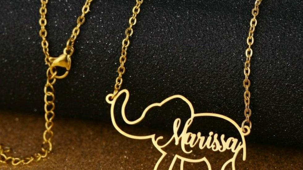 Elephant Custom Name Necklace