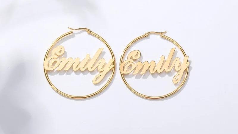 Hoop Custom Name Center Earrings