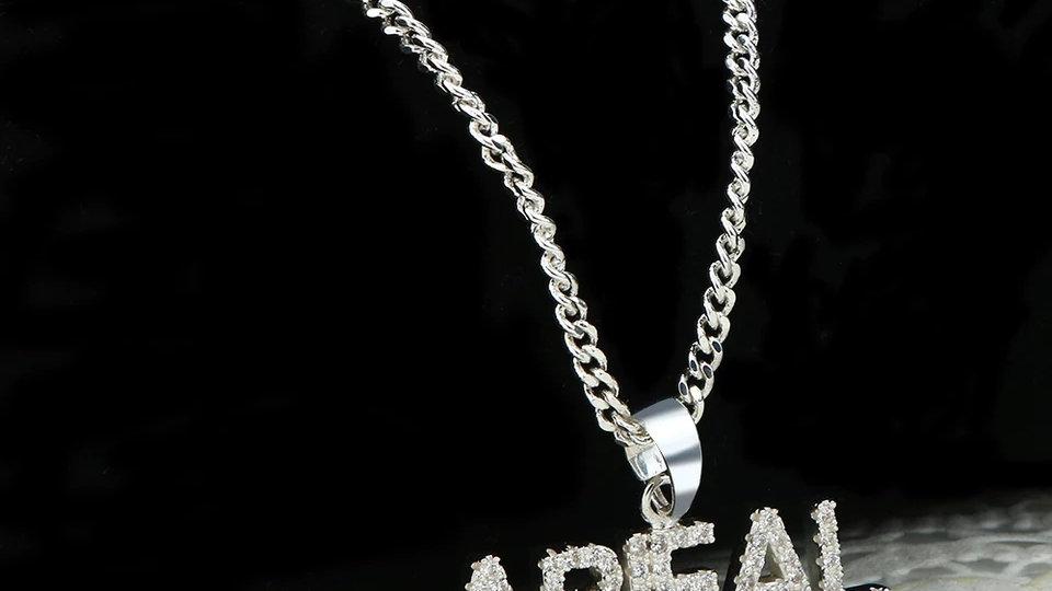 Custom Bling Block Name Necklace