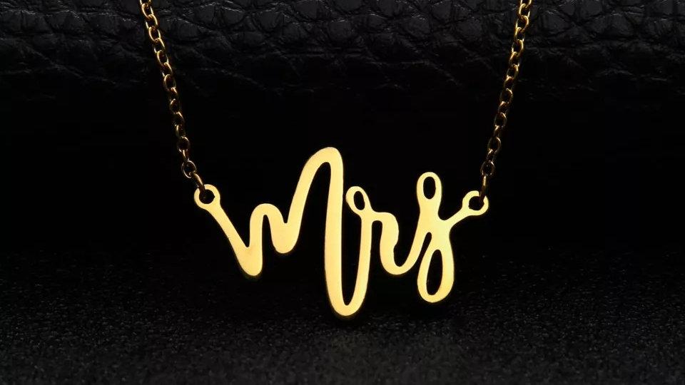 Mrs. Script Letter Necklace