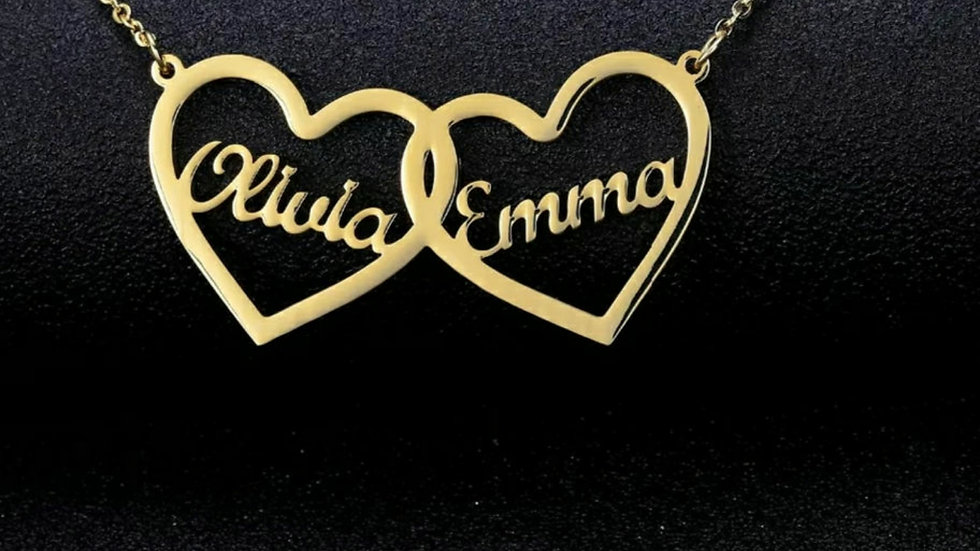 Heart 2 Names Necklace Style 4