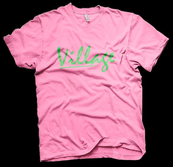 Village Classic Tee - Pink/Green