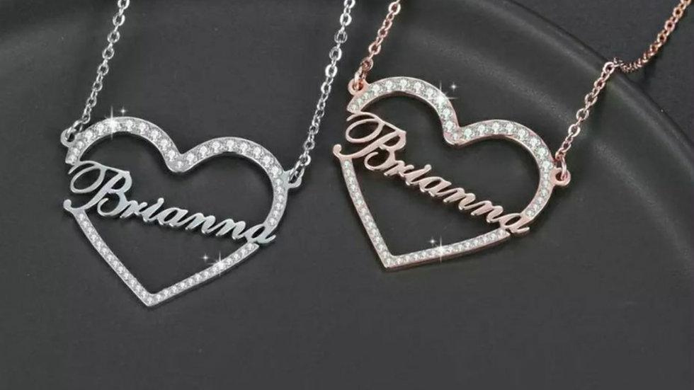 Custom Bling Heart Necklace