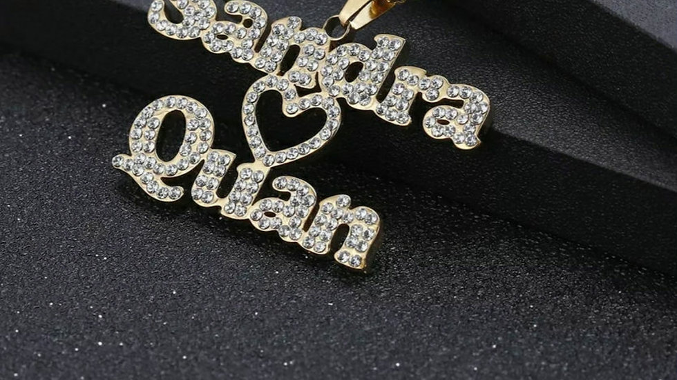 Heart 2 Names Bling Necklace