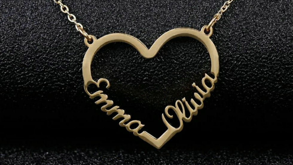 Heart 2 Names Necklace Style 2