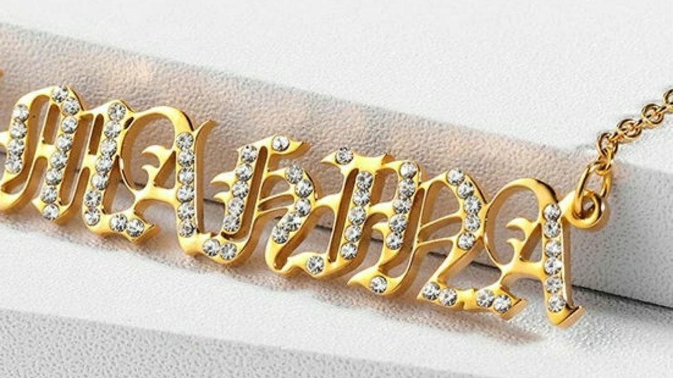 Custom Old English Bling Block Name Necklace
