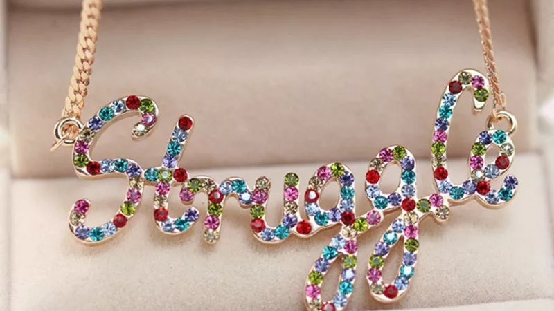 Custom Color Bling Name Necklace