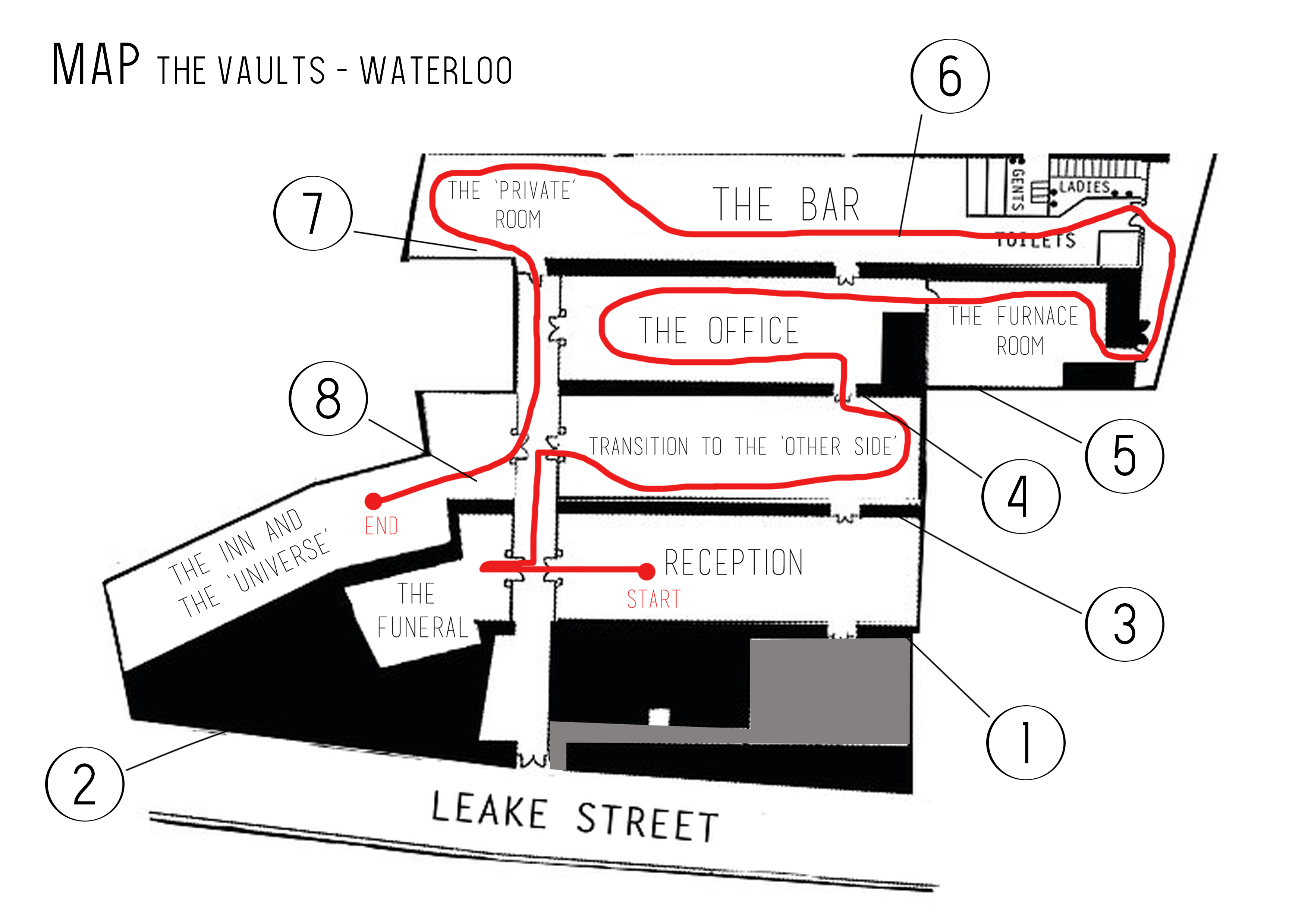 Map of the Vaults Waterloo