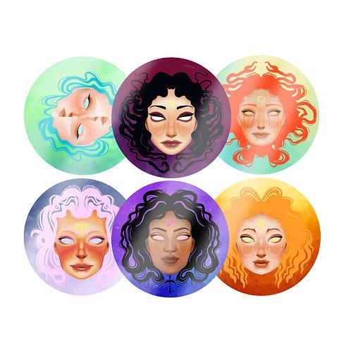Fire & Water Zodiac Stickers
