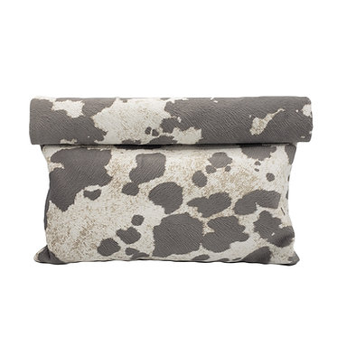 GREY SPOTTED ROLLOVER CLUTCH