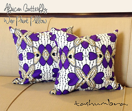 AFRICAN BUTTERFLY BATIK PRINT ACCENT PILLOW 20x20