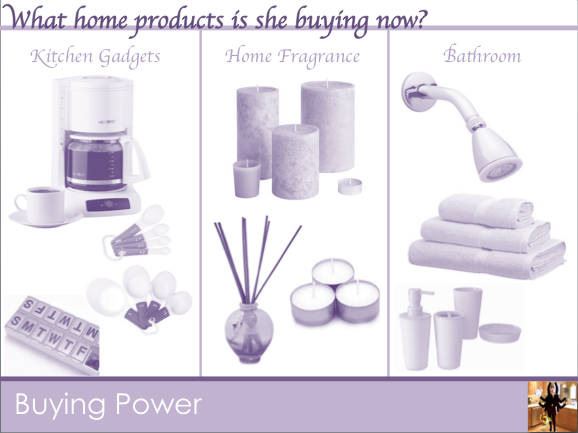 What home products does she buy now?