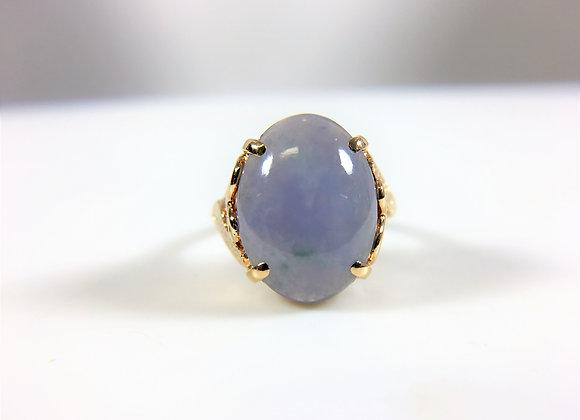 Grey Jade, 14k yellow gold ring