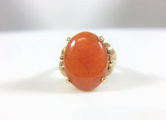 Red Jade, 14k YG ring