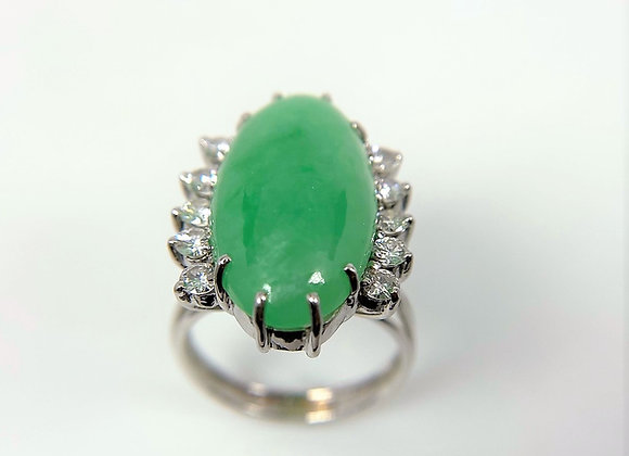 Certified Natural Jade and diamond ring