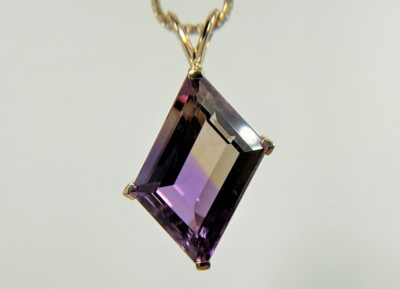 Ametrine Pendant, 14k yellow gold
