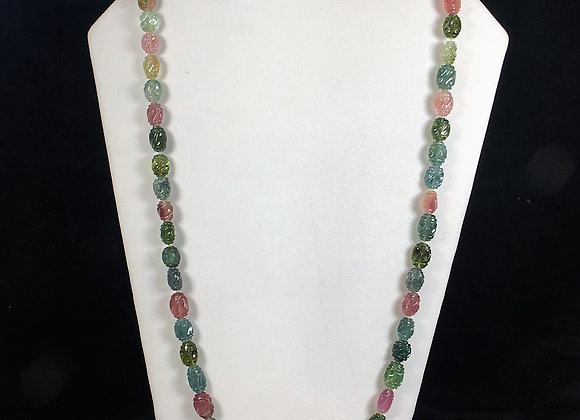 Carved Tourmaline Bead Necklace