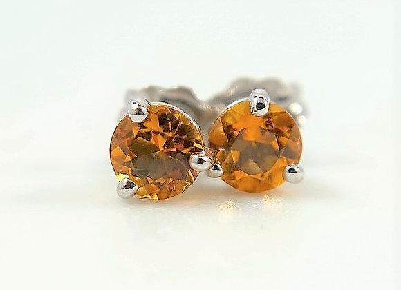 Citrine Stud Earrings, 14k white gold